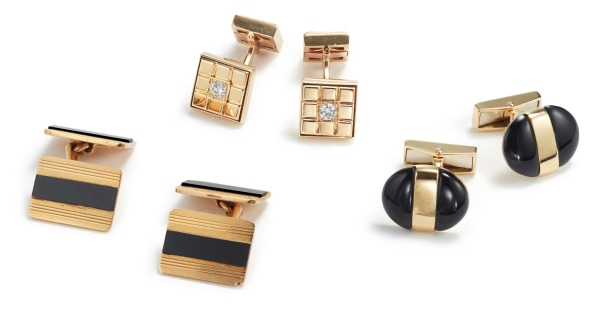 Three Pairs of Gold, Onyx and Diamond Cufflinks