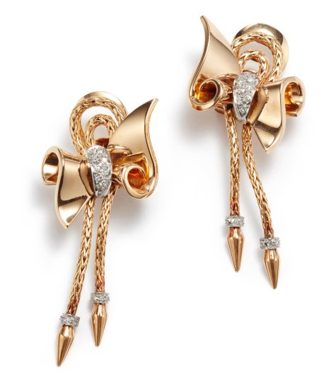 A Pair of Retro Gold and Diamond Earrings