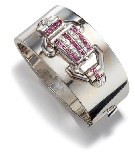 A Retro Gold, Diamond and Ruby Bracelet Watch