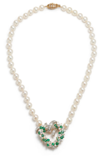 A Cultured Pearl, Diamond, and Emerald Necklace/Brooch