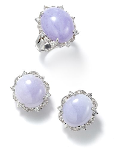 A Set of Lavender Jade and Diamond Earrings and Ring