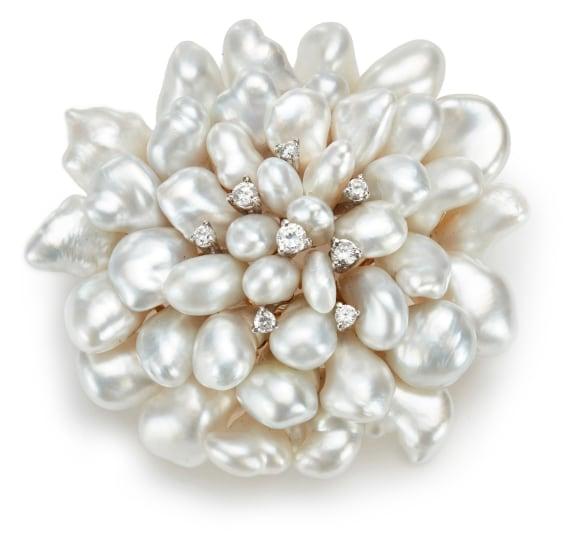A Keshi Cultured Pearl and Diamond Brooch