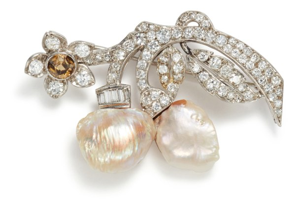 A Freshwater Cultured Pearl, Diamond, and Zircon Brooch
