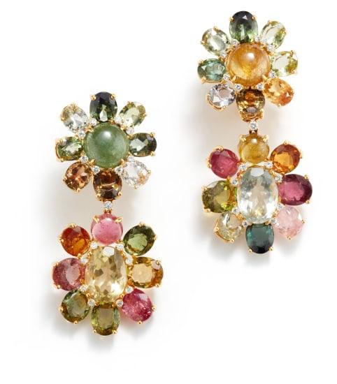 A Pair of Tourmaline, Quartz, and Diamond Earrings
