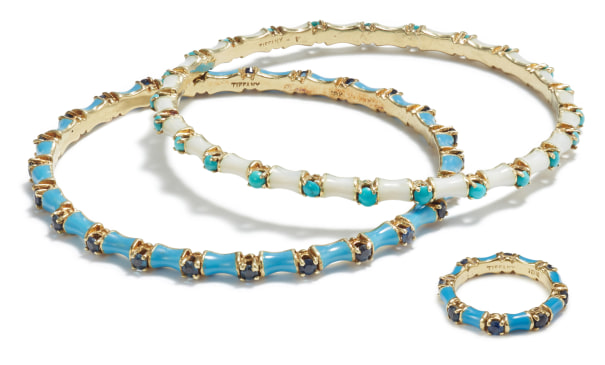 A Set of Enamel, Sapphire, and Turquoise Jewelry