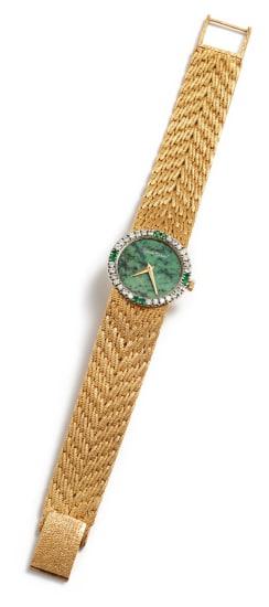 A Gold, Diamond, Nephrite, and Emerald Watch