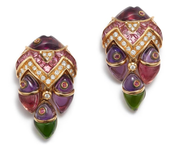 A Pair of Amethyst, Tourmaline, Sapphire and Diamond Earrings