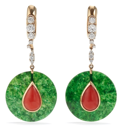 A Pair of Diamond, Jade and Coral Earrings