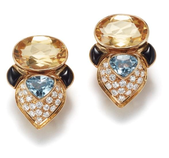 A Pair of Citrine, Topaz, Onyx, and Diamond Earrings