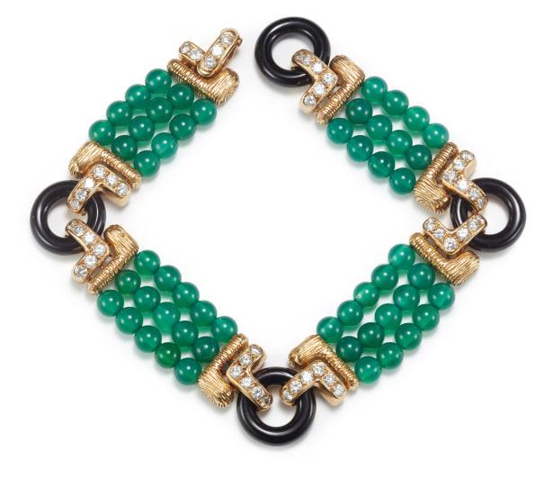 An Onyx, Diamond, and Gold Bracelet