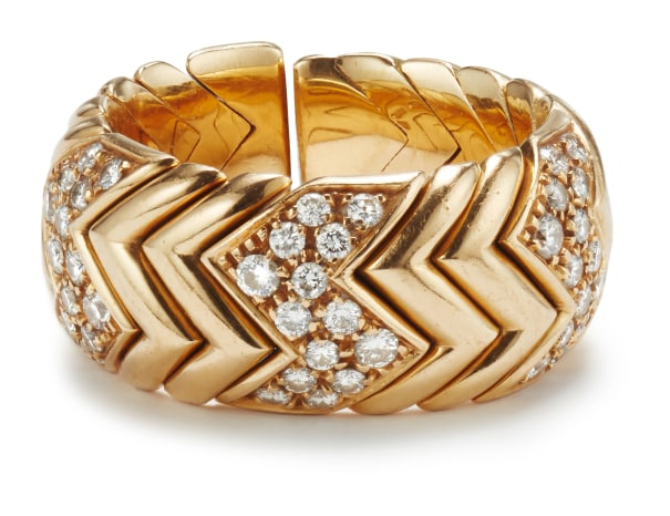 A Gold and Diamond 'Spiga' Ring