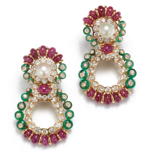 A Pair of Emerald, Ruby, Cultured Pearl and Diamond Earrings
