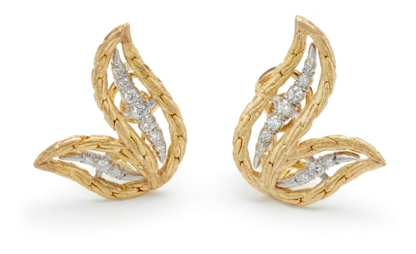 A Pair of Gold and Diamond 'Oro Collection' Earrings