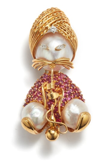 A Gold, Ruby, Diamond, and Cultured Pearl Brooch