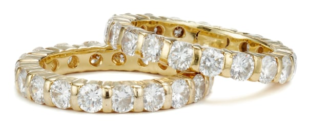 A Pair of Diamond Eternity Band Rings