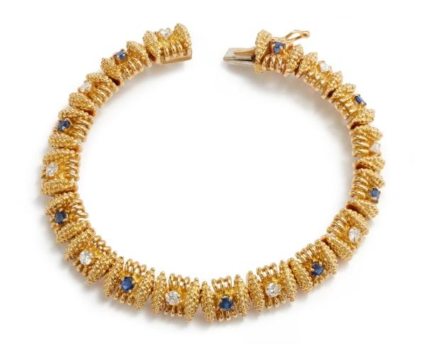 A Gold, Diamond, and Sapphire Bracelet