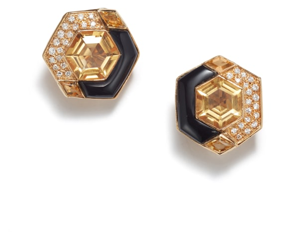 A Pair of Citrine, Onyx, and Diamond Earrings