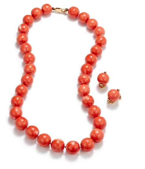 A Set of Coral Earrings and Necklace