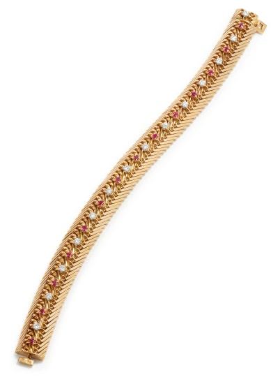 A Gold, Diamond, and Ruby Bracelet
