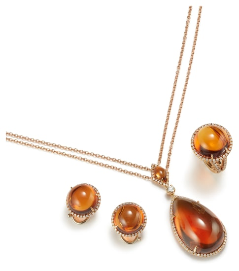 A Suite of Citrine and Diamond Jewelry