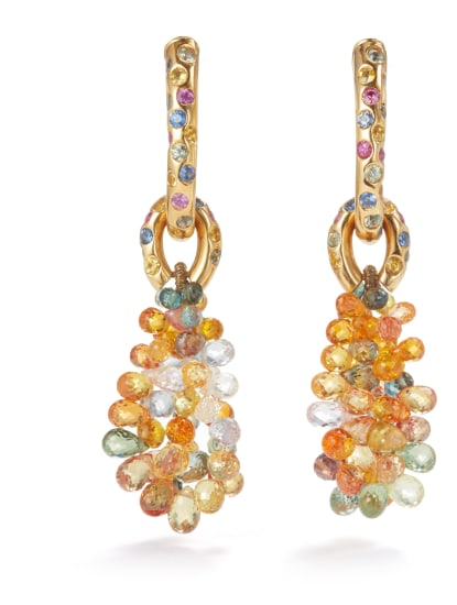 A Pair of Multi-Colored Sapphire Earrings