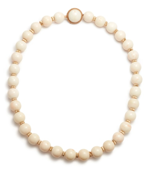 A Coral and Gold Bead Necklace