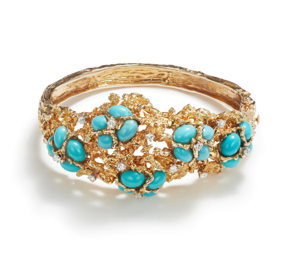 A Gold, Turquoise, and Diamond Bracelet