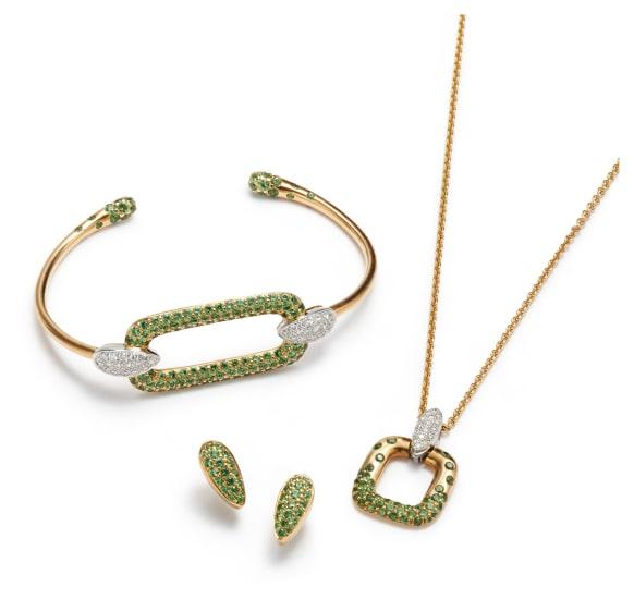 A Suite of Gold, Tsavorite Garnet and Diamond Jewelry