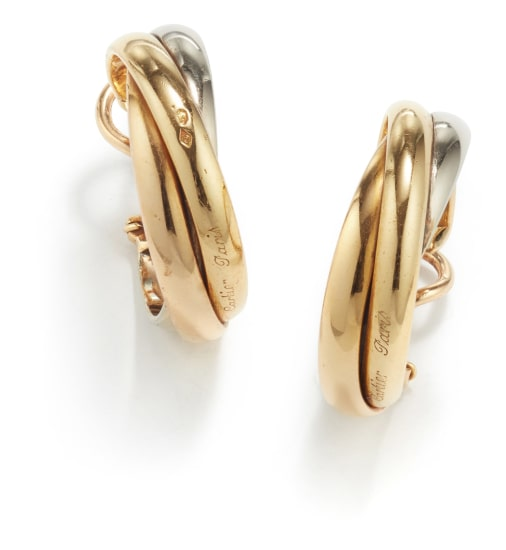 A Pair of Gold 'Trinity' Earrings
