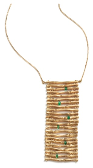 A Gold and Emerald Necklace
