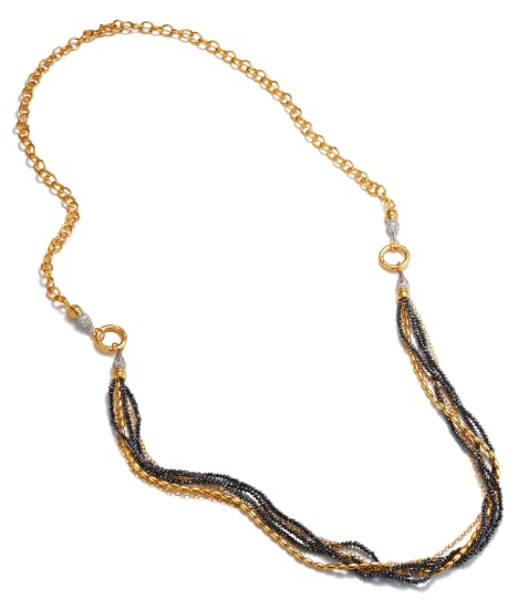 A Gold, Diamond Bead, and Diamond 'Sultan' Necklace