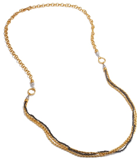 A Gold, Diamond Bead and Diamond 'Sultan' Necklace