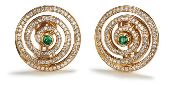 A Pair of Diamond and Tsavorite Garnet Earrings
