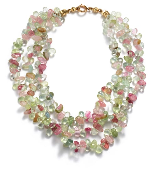 A Three Strand Tourmaline Necklace