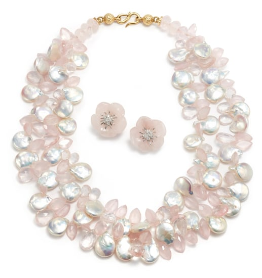 A Rose Quartz and Cultured Pearl Necklace and Pair of Rose Quartz and Diamond Earrings