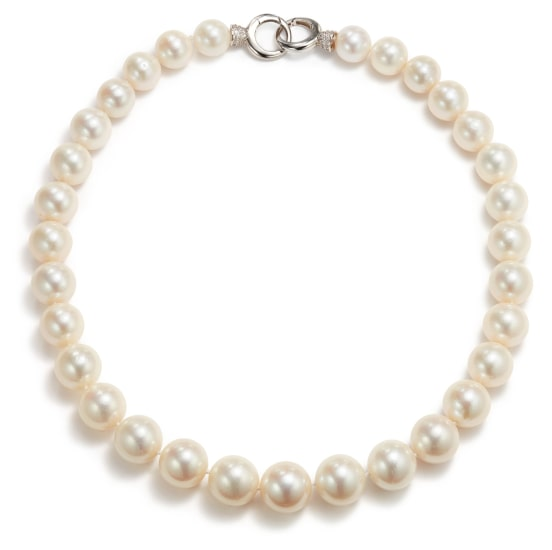 A Cultured Pearl and Simulated Diamond Necklace