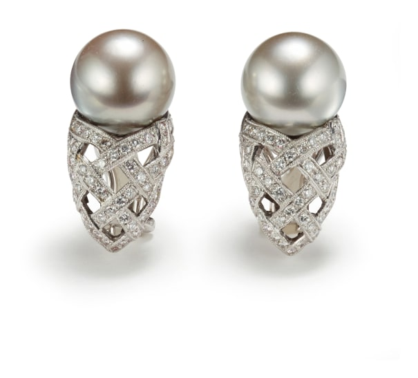 A Pair of Pearl and Diamond 'Oro Collection' Earrings