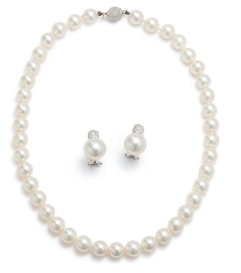 A Set of Cultured Pearl and Diamond Earrings and Necklace