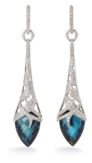 A Pair of Blue Topaz and Diamond 'Thorn' Earrings