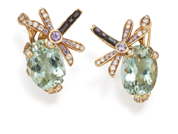 A Pair of Green Beryl, Diamond, Sapphire and Mother-of-Pearl 'Gourmande Pastel' Earrings