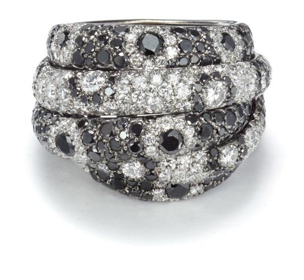 A Diamond and Black Diamond Ring