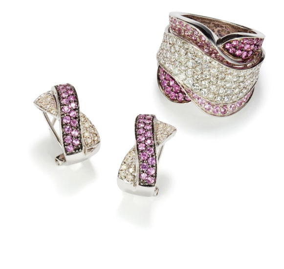 A Set of Diamond and Fancy Colored Sapphire Earrings and Ring