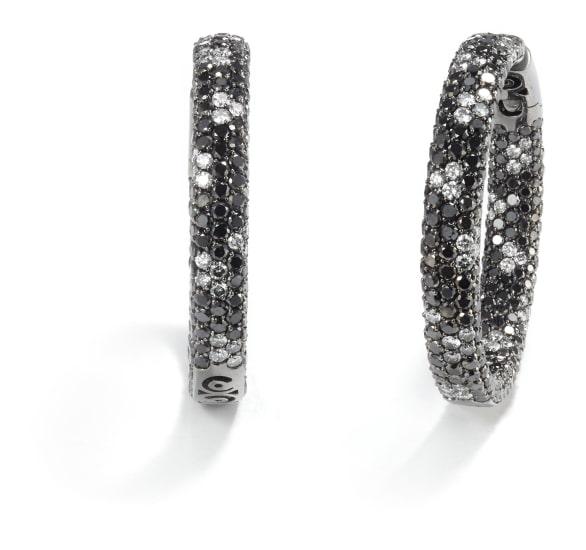 A Pair of Diamond and Black Diamond Earrings