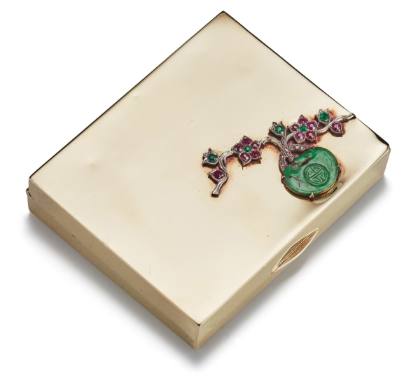 A Gold, Emerald, Ruby, Diamond and Jade Compact