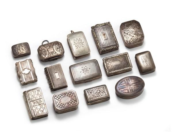 A Collection of Silver Vinaigrettes