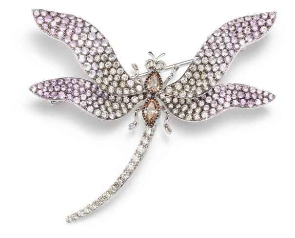 A Diamond, Fancy Diamond and  Fancy Colored Sapphire Brooch