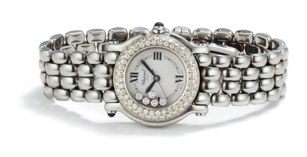 A Stainless Steel and Diamond 'Happy Sport' Watch