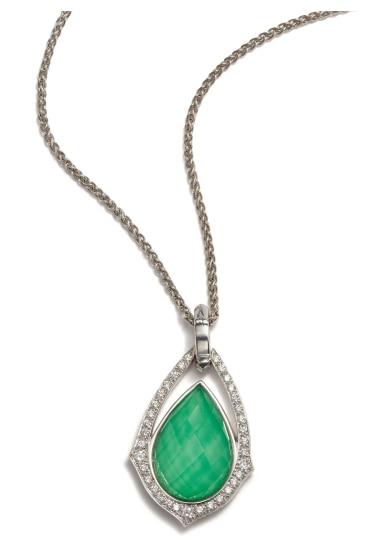 A Chrysoprase Doublet and Diamond Necklace