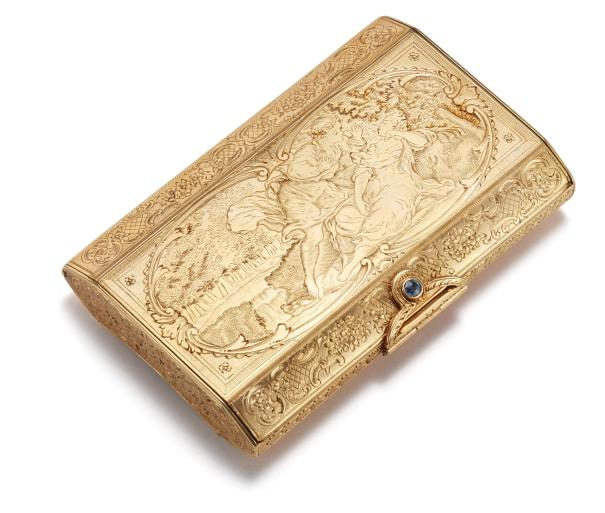 A Gold and Sapphire Cigarette Case