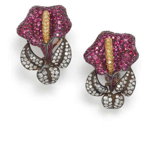 A Pair of Ruby, Colored Diamond, and Diamond Earrings